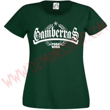 Camiseta MC Chica Gamberras Pura vida laureles (Verde)