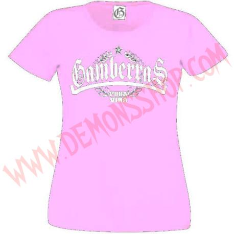 Camiseta MC Chica Gamberras Pura vida laureles (Rosa)