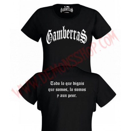Camiseta MC Chica Gamberras Clasica (Negra)