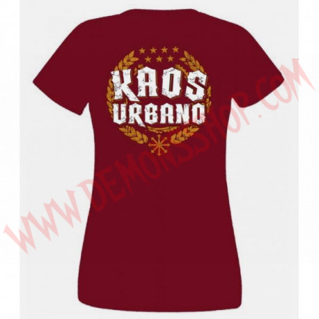 Camiseta Chica MC Kaos urbano (Granate)