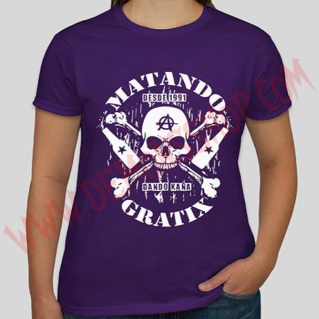 Camiseta Chica MC Matando Gratix (Morada)